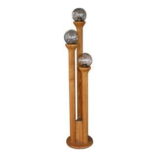 1970s Modeline Mid-Century Modern Triple Column Oak Floor Lamp For Sale