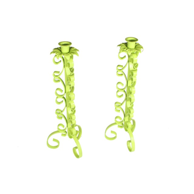 Arthur Umanoff 1970s Chartreuse Wrought Iron Taper Candlestick Holder - a Pair For Sale - Image 4 of 5