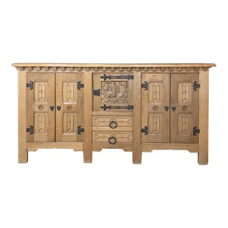 Antique Gothic Rustic Buffet For Sale