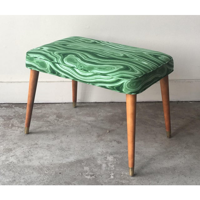 Mid-Century Modern Malachite Green Upholstered Stool For Sale - Image 9 of 9