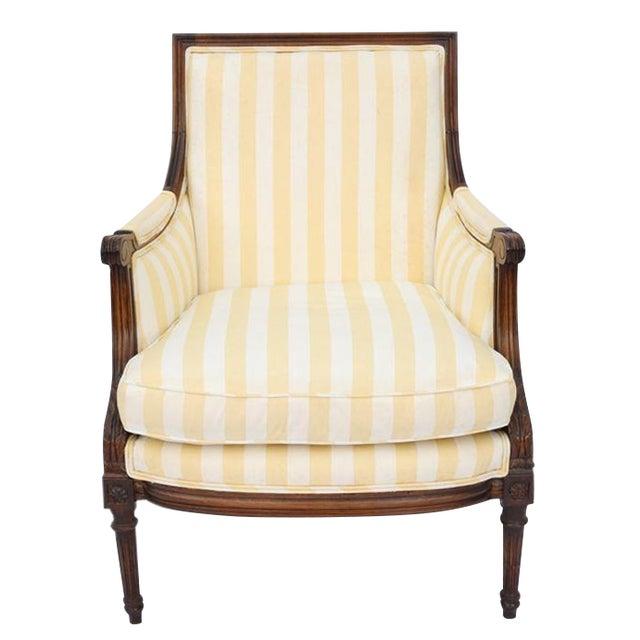 Louis XVI Style Striped Upholstery Walnut Bergère - Image 1 of 11
