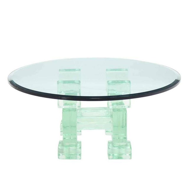 Solid Glass Blocks Glass Top Coffee Table For Sale - Image 4 of 9