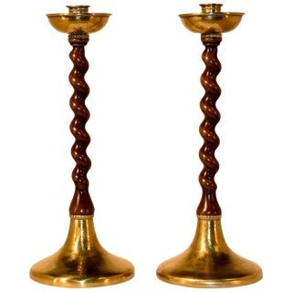 19th Century Walnut and Brass Candlesticks - a Pair For Sale