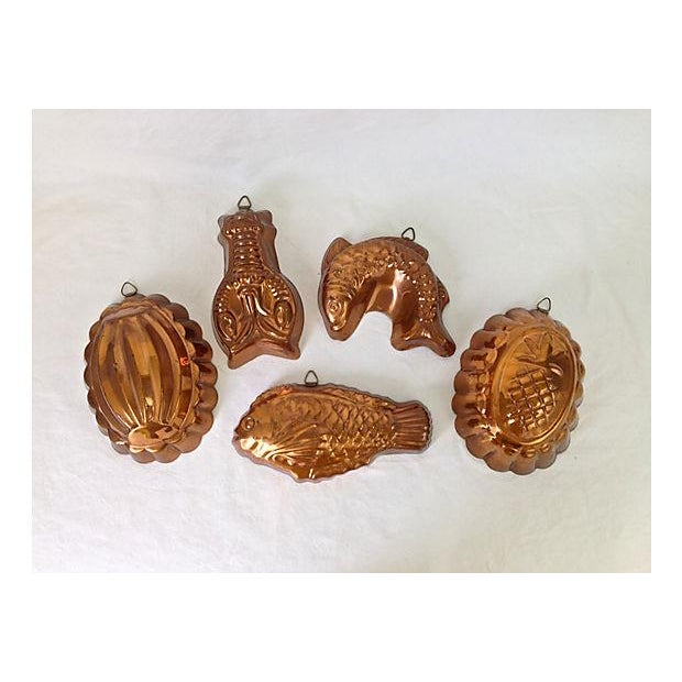 Portugese Kitchen Copper Molds - Set of 5 - Image 2 of 8