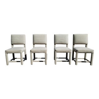 Custom Boris Kroll Fabric Parsons Dining Chairs - Set of 4 For Sale