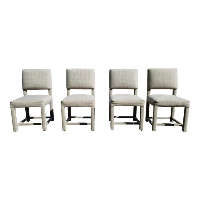 Custom Boris Kroll Fabric Parsons Dining Chairs - Set of 4 For Sale