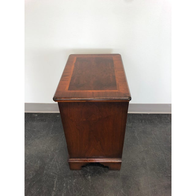 Late 20th Century Diminuitive Burl Walnut Chippendale Style Chest / Nightstand For Sale - Image 5 of 9