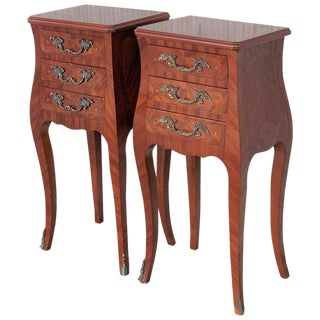 Louis XV Style Pair of Marquetry Nightstands With Three Drawers & Cabriole Legs For Sale