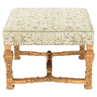 Italian 22-Karat Gold Leaf Carved Wood Bench For Sale