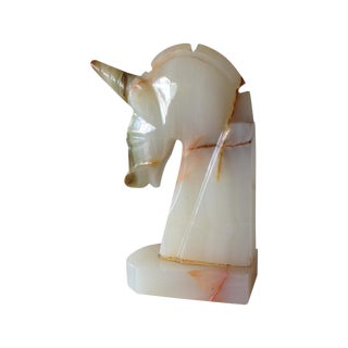 Vintage Italian Carved Marble Unicorn Bookend For Sale