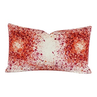 """Highland Court Bellatrix in Red and Coral Lumbar Pillow Cover - 12"""" X 20"""" Red, Pink, Coral, and White Splatter Print Velvet Cushion Case For Sale"""
