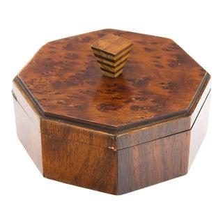 Octagonal Burlwood Lidded Tramp Art Box For Sale