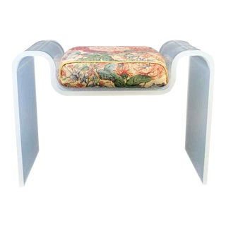 Mid Century Modern Curved Lucite Acrylic Bench Charles Hollis Jones Seat 1970s For Sale