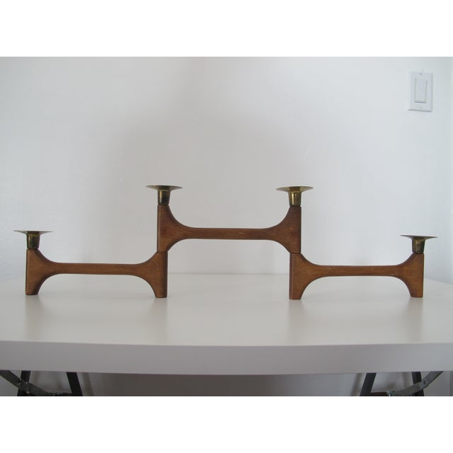 Mid-Century Wood and Brass Candelabra - Image 6 of 8