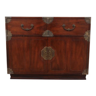 Japanese Tansu Style Mahogany Cabinet by Henredon For Sale