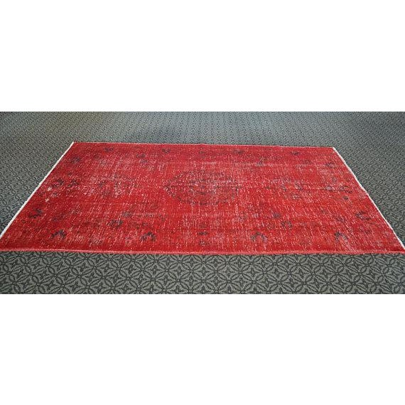 Overdyed Red Turkish Area Carpet - 5′4″ × 9′3″ For Sale In Austin - Image 6 of 6