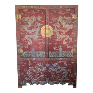 19th Century Vintage Chinese Red Lacquered Cabinet Hand Painted For Sale