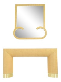 Image of Mid-Century Modern Console Table With Mirror Set