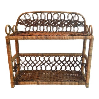 Vintage Wicker Hanging Shelf For Sale
