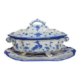 Antique French Ivory & Blue Soupier - 3 Pieces For Sale