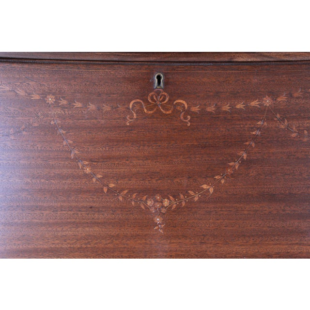 Metal French Louis XV Style Mahogany Drop-Front Secretary Desk With Mother Of Pearl Inlay For Sale - Image 7 of 13