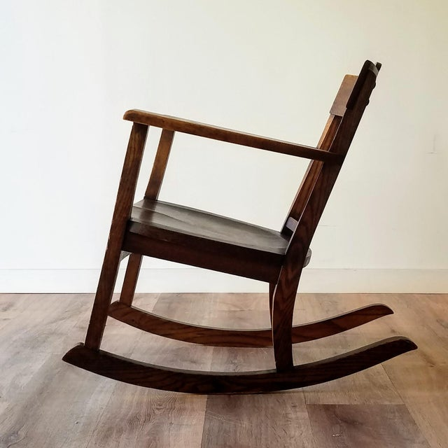 Arts & Crafts Early 20th Century Arts + Crafts Oak Rocking Chair For Sale - Image 3 of 13