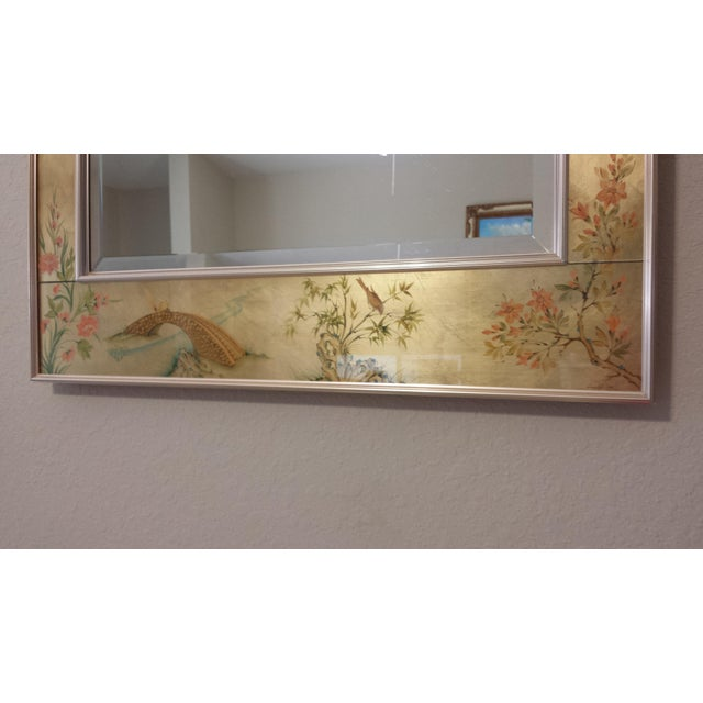 Glass Labarge Chinoiserie Eglomise Reverse Painted Gold Leaf Mirror For Sale - Image 7 of 11