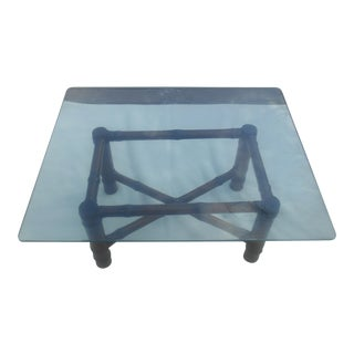Ralph Lauren Bamboo and Glass Coffee Table For Sale
