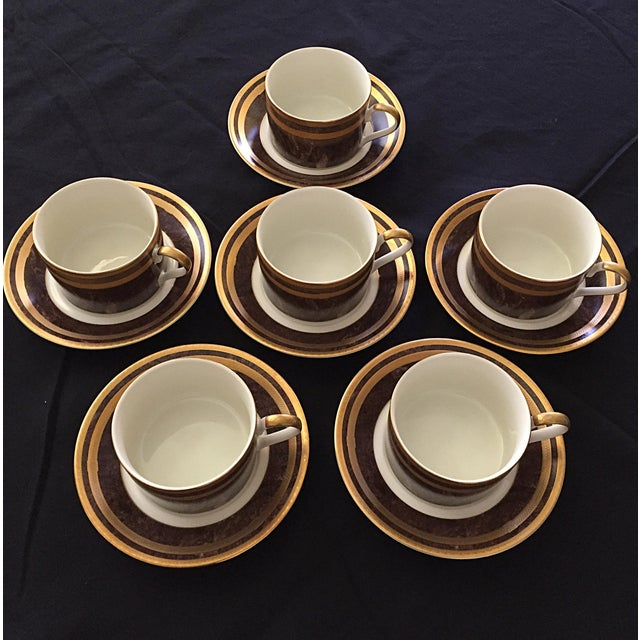 Mahogany Florentine Luncheon or Dessert China Set - 18 Pieces For Sale - Image 12 of 13