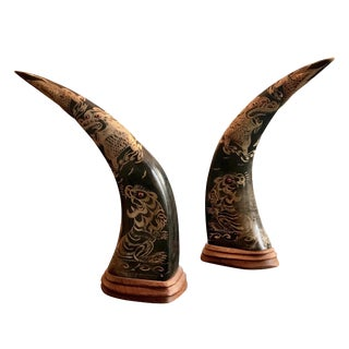 1940s Vintage Hand Carved Horns - A Pair For Sale