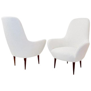 Pair of Italian Armchair, New 'Meringue' Upholstery by Pierre Frey For Sale