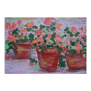 Three Flower Pots Oil Painting by Doris Sherwyn