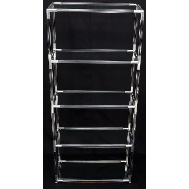 Chrome Lucite and Aluminum Mid-Century Modern 5-Tier Etagere Vitrine Shelving Unit For Sale - Image 8 of 13