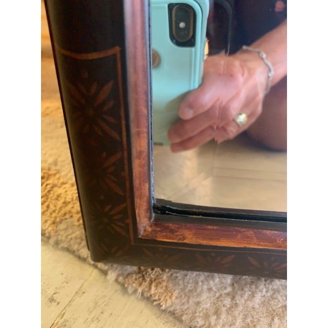 Black Hand Painted Chinoiserie Mirrors -A Pair For Sale - Image 8 of 13