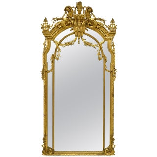 French Giltwood and Gesso Mirror, 19th Century For Sale