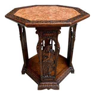 19th Century French Carved Oak Octagon Side Table Greek Goddess Marble For Sale