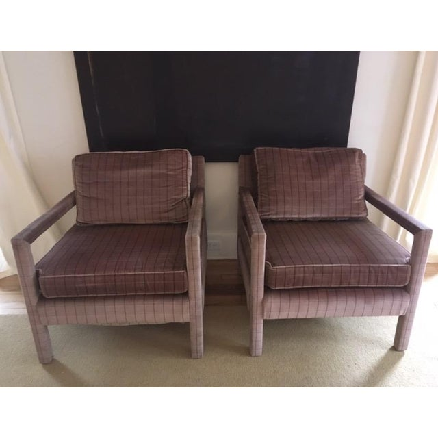 1970s Vintage Parsons Style Arm Chairs- A Pair For Sale - Image 13 of 13