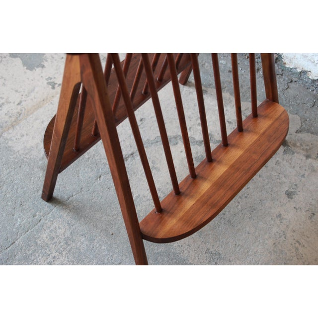 Arthur Umanoff Sculpted Walnut Mid-Century Record Holder or Magazine Rack For Sale In South Bend - Image 6 of 8