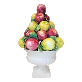 Vintage Extra Large Italian Majolica Apple Topiary For Sale