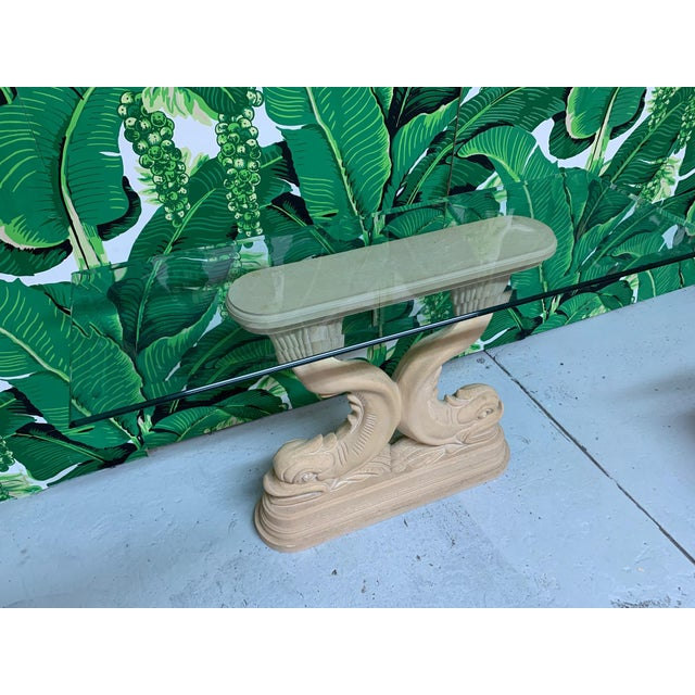 1980s Asian Dolphin Fish Console Table For Sale - Image 5 of 7