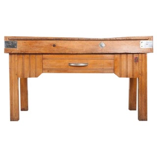 French Early 20th Century Art Deco Pine Butcher Block For Sale