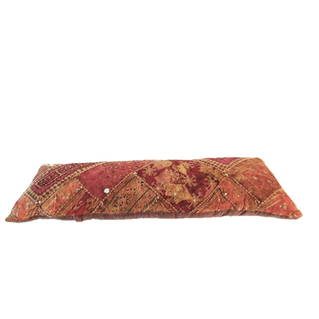 Indian Custom Made Patchwork Long Pillow For Sale In New York - Image 6 of 8