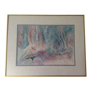 Abstract Framed Watercolor on Crinkled Paper by Hope Atkinson For Sale
