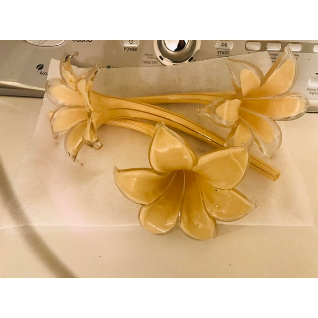 Vintage Mid Century Italy Murano Glass Flower Chandelier For Sale - Image 12 of 13