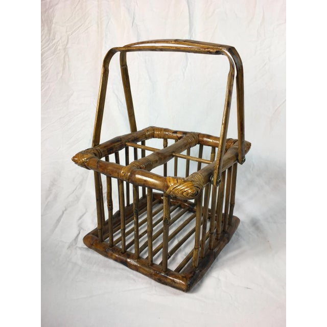 Mid 20th Century 20th Century Chinoiserie Bamboo Bottle Basket in Burned & Lacquered Tortoise Finish For Sale - Image 5 of 6