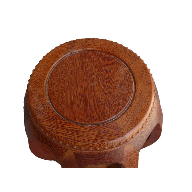 Chinese Solid Wood Huali Barrel Round Stool For Sale - Image 4 of 5