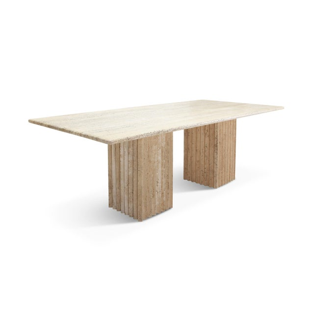 Travertine Dining Table in the Style of Carlo Scarpa and Angelo Mangiarotti For Sale - Image 11 of 11