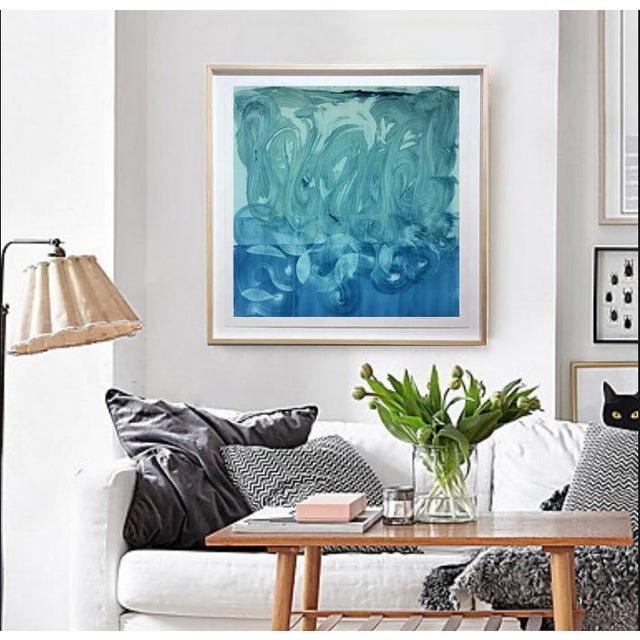 """Abstract """"Teal and Blue"""" Original Monotype on Rives Bfk Paper Print by Karen J Revis For Sale - Image 3 of 4"""