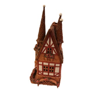 "Handmade ""Town House in Germany"" Ceramic Candle Holder"