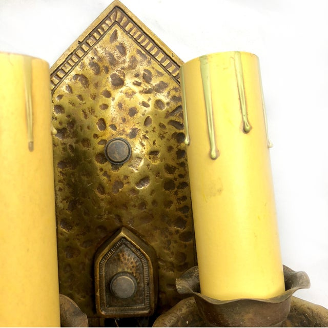 Gold Antique Arts & Crafts Hammered Brass Double Light Wall Sconce For Sale - Image 8 of 12